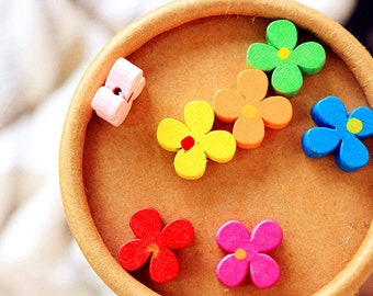 20pcs Flower Buttons Painted Buttons Floral Wood Button Wooden Sewing Button 13mm b08