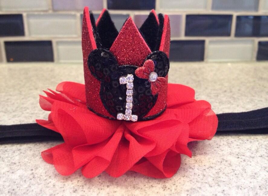 rote Minnie Maus ersten Geburtstag Krone rot Minnie Maus