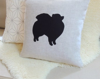 Pomeranian Applique Pillow Cover - Custom Colors