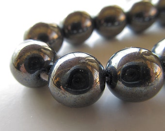 Czech Glass Beads 10mm Shiny Gunmetal Gray Opaque Smooth Rounds - 8 Pieces