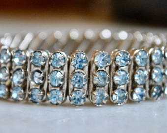 Light Blue Rhinestone Expansion Bracelet