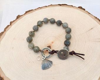 Faceted Labradorite Leather Wrap Bracelet