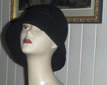 Raven Black Jaunty Crochet Hat. Formal Victorian Handmade Hand Crocheted Homespun Black Mamba Victorian Cloche Poor Boy Cap. Made to order