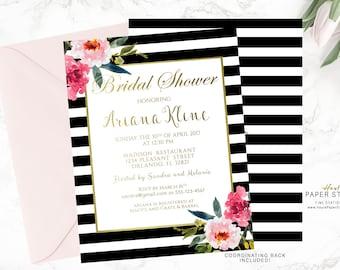 Black Stripes Invitation, Bridal Shower Invitation, Custom Invitation, Gold Shower Invitation, Printable Invite, Glitter Invitation, BR054