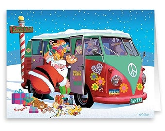 Santa Goes Retro - 18 Cards &  19 Envelopes - Santa's Peace 1960's Peace Bus - 20059