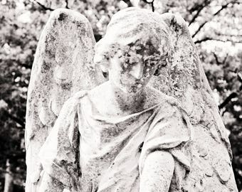 Black and White Angel Photograph, black and white photograph, angel, cemetery art, fine art photography