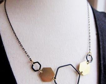 Black Geometric Necklace, Black Hexagon, Geometric Jewelry, Brass Hex Pendant, Shimmering Chain, Modern, Long Necklace, Redpeonycreations