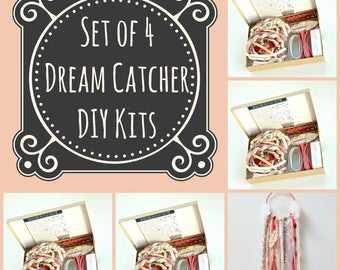 Set of 4 burgundy diy dream catcher kits do it yourself set of 4 pink dream catcher kits do it yourself craft kit gift for girls make your own dreamcatcher kit by the house phoenix solutioingenieria Image collections