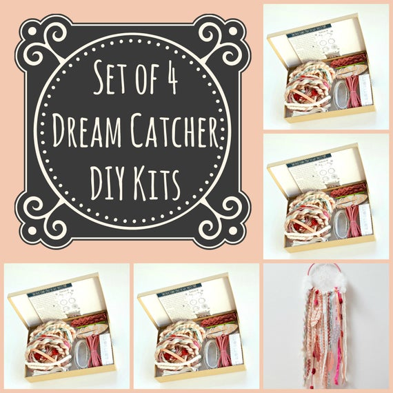 Set of 4 pink dream catcher kits do it yourself craft kit like this item solutioingenieria Choice Image