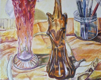 Antlers and Vases--A Pastel Pencil Drawing of a Still Life with Deer Antlers, Vases, and Art Supplies