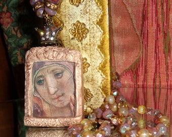 Face of Mary pictorial prayer shrine pendant necklace Sacred Jewelry Pamelia Designs