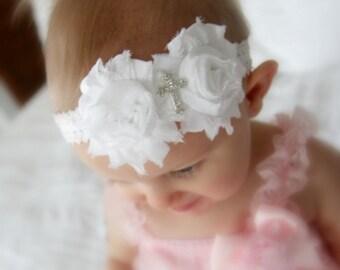Baptism Headband, Christening Headband, Cross Headband, Infant Headbands, Baby Headband, White Headband Baby, Head Bands, Shabby Headband