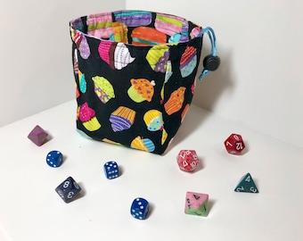 Cupcake and Macaron reversible dice bag
