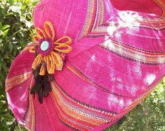 Bright & Beautiful Fuschia Striped Sun Hat