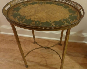 Vintage Metal Tray Table - Ivy Design, Removable Tray
