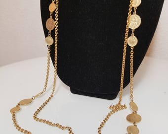 RESERVED  Vintage  Gold  Coin  Necklace