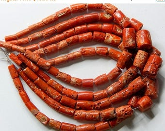 """63% OFF CORAL /ITALIAN Old Red Coral Smooth Beads Tube Shape 15x12 To 4x9.mm Approx 10""""Inches 100 Percent Natural Top Quality Wholesale Pr"""