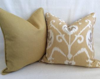 Ikat and Linen Designer Pillow Cover Set  Gold/Taupe/Natural