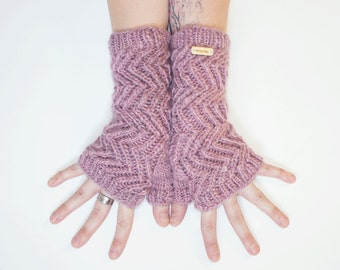 Twisted Rose Blush ~ Knit Fingerless gloves, Fingerless glove mittens, Long knit gloves, Boho knit glove mittens, Women's Fingerless Mitts