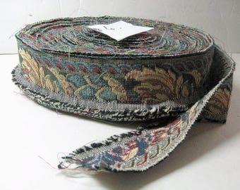 """38 +Yards Sewing Trim Vintage 2"""" Wide Woven Filigree Tapestry Multi Color Jacquard Cotton Ribbon Braid, Upholstery, Crafts, Millinery Lot #6"""