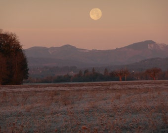 Full Moon Over Frosty Dawn Morning Nature Lovers Card