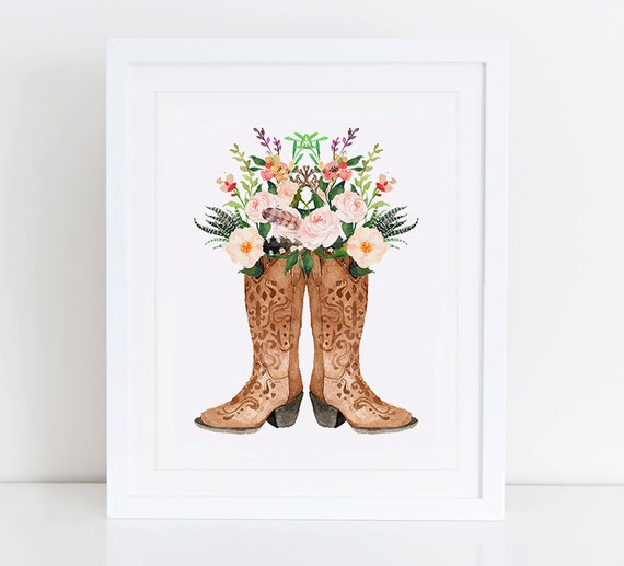 Cowboy Boots Art Print Instant Download Watercolor