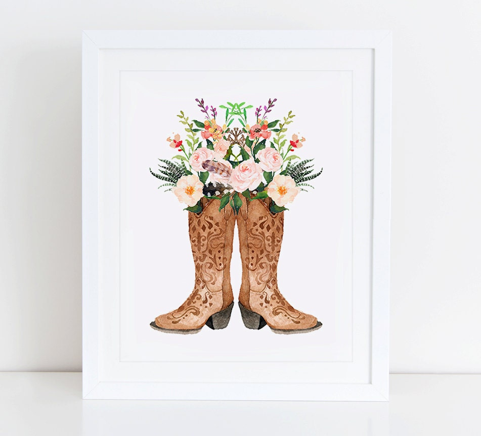 Cowboy Boots Art Print Instant Download Watercolor Print