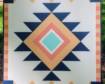 Handmade Barn Quilt, 2' x 2' - Aztec