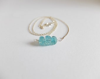 Apatite Bar Necklace in silver chain Apatite jewelry,Blue Gemstone bar necklace dainty layering necklace,genuine neon blue apatite necklace