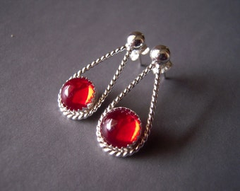 Red Earrings, Argentium Sterling Silver Earrings, Sterling Silver Stud Dangle Earrings, Red German Glass Cabochon, 925, Hand Made Artisian