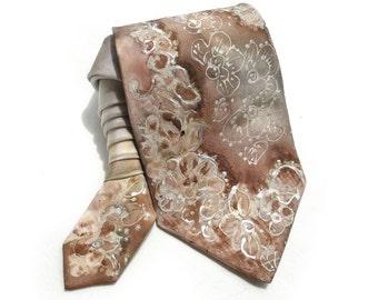 Lace Tie. Hand Painted Silk Tie. Beige OOAK Silk Tie. Brown Silk Neck Tie. Anniversary Birthday Gift. Genuine Art on Silk. MADEtoORDER