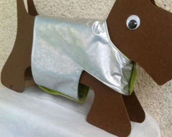 Waterproof and warm silver and lime green coat for small dogs