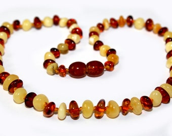 NATURAL BALTIC AMBER Baby Teething Necklace with Certificates of Amber Authenticity