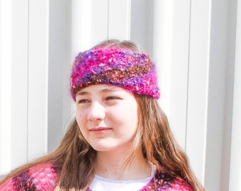 Crochet Headband for Women – Country Market Collection – Mohair Headband - Green, Pink or Blue