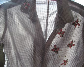 Vintage Womans's blouse, looks handmade, rose appiques, rhinestones