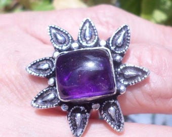 Genuine amethyst and 925 sterling silver ring