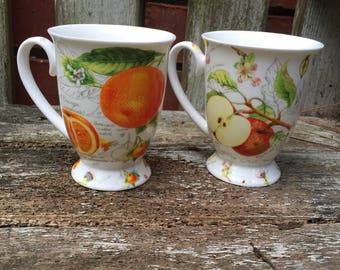 Pair of Kent Pottery Tea Coffee Cups Mugs Oranges and Apples Botanical