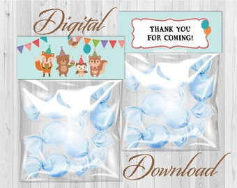 Candy Bag Labels, Candy Bag Toppers, Treat Bag Toppers, Favor Bags Toppers, Printable Instant Download - Woodland Animals Birthday Blue