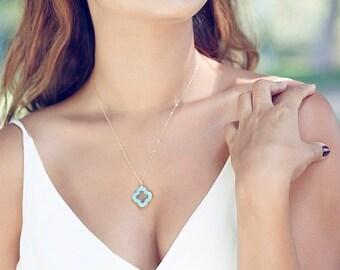 Turquoise Clover Quatrefoil Necklace