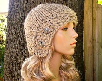 Knit Hat Oatmeal Womens Hat - Oatmeal Cloche Hat Oatmeal Knit Hat - Oatmeal Hat Oatmeal Beanie Womens Accessories Winter Hat
