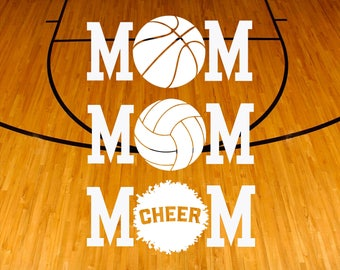Sports Mom Decal - Basketball Mom Decal - Volleyball Mom Decal - Cheer Mom Decal -  Mom Decal - Stocking Stuffers - Gifts For Mom