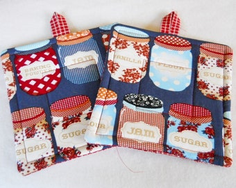 Potholders, Set of 2 Quilted Potholders, Jelly Jar Potholders