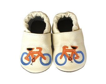 Leather Baby Booties, Baby Shoes, Bicycle Infant Newborn Nursery Children
