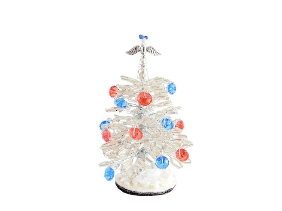 8cm Beaded Tiny White Christmas Tree With Angel Topper