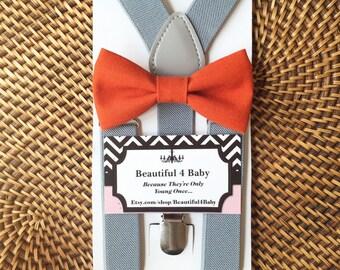 Orange Baby Boy Bow Tie- Orange Toddler Bow Tie- Orange Bow Tie & Gray Suspender Set- 6 Months to 5 Years Old