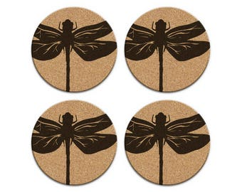 DRAGONFLY Nautical Coastal Cork Coaster Set Of 4 Home Decor Barware Decoration