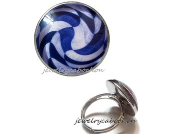 Ring blue pattern silver color