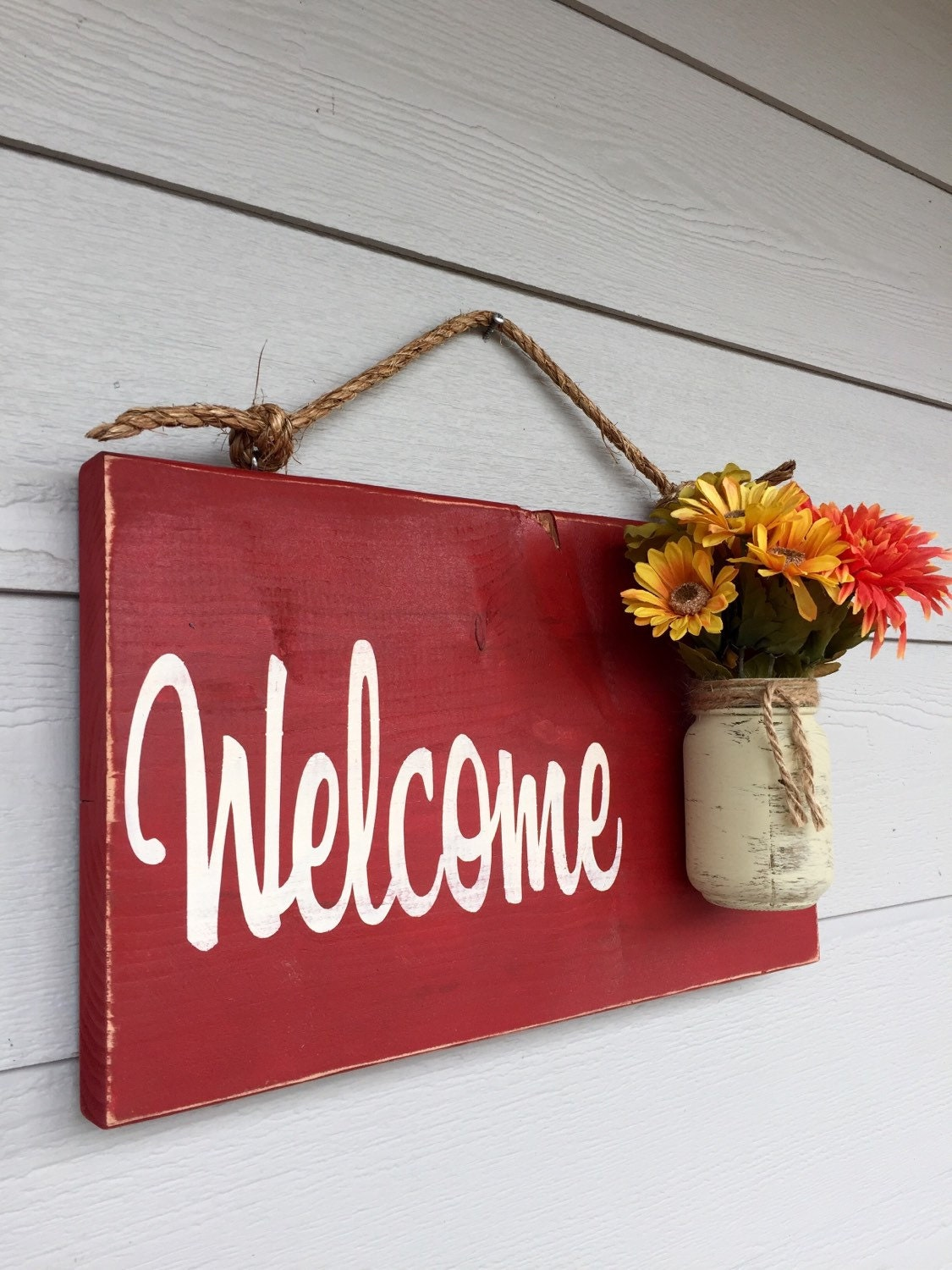 Rustic outdoor welcome sign in red wood signs front door request a custom order and have something made just for you rubansaba