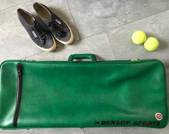 Vintage Dunlop Sports green leatherette sports bag tennis bag or badminton bag