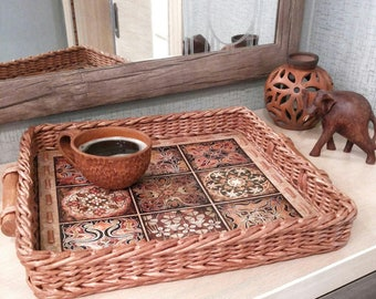 Arabesque tray Coffee table tray Ottoman tray Sofa Serving coffee tee Tray Breakfast Ethnic Wicker Tray Mom gift from daughter Serving trays